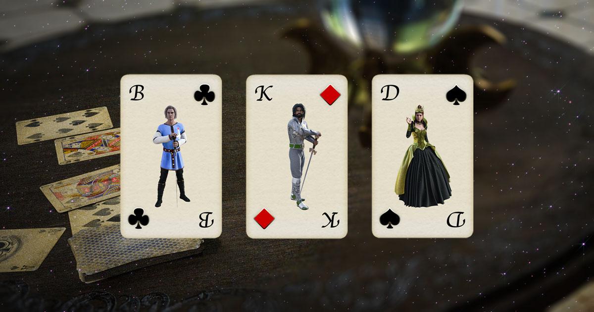 Dreier Kartendeutung mit Skatkarten